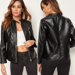 Jackets & Coats - vegan leather moto jacket black 807828